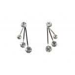 Clear Rhinestone Suspension Metal Stud Earrings
