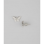 Kids Girls Silver Butterfly Stud Earrings