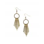 Burnished Goldtone Arrow-Fringe Drop Earrings