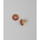 Kids Girls Orange & Gold Basketball Stud Earrings