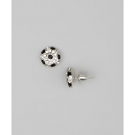 Kids Girls Black Soccer Ball Stud Earrings