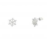 Tiny Shiny Showflake Stud Earrings with Rhinestones.