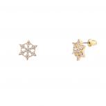 Tiny Shiny Showflake Stud Earrings with Rhinestones