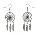 Dreamcatcher Leaf Tribal Black Stone Dangle Earrings