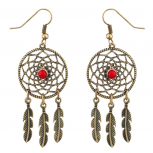Dreamcatcher Leaf Tribal Red Stone Dangle Earrings