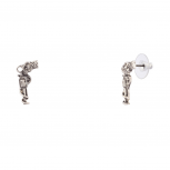 Rose Gun Revolver Colt Stud Earrings.