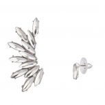 Crystal Oval Teardrop Wing Ear Cuff Stud Earring Set