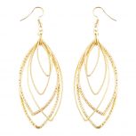 Gold Tone Teardrop Pendulum Multi strand Geo Cutout Earrings
