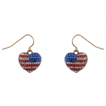 God Bless American Pave Crystal Flag 4th Of July Heart Dangle Earrings