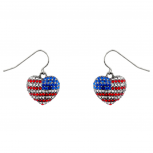 God Bless American Pave Crystal Flag 4th Of July Heart Dangle Earrings.