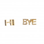 Gold Tone Hi Bye Verbiage Kitschy Personalized Stud Earrings