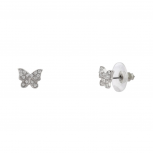 Womens Kids Girls Pave Crystal Butterfly Stud Earrings.