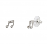 Womens Kids Girls Music Eighth Note Pave Stud Earrings.