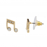 Goldtone Crystal Rhinestone Music Note Novelty Stud Earrings