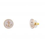 Womens Kids Girls White Anchor Sailor Stud Earrings