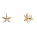 Womens Kids Girls Pave Starfish Stud Earrings