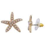 Gold Tone Synthetic White Stone Starfish Novelty Stud Earring
