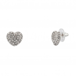 Womens Kids Girls Pave Heart Stud Earrings.