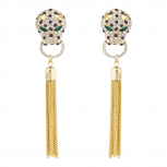 Gold Tone Jaquar Head Pave Rhinestone Chain Tassel Earrings