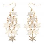 Goldtone Xmass Holiday Snowflake Waterfall Chandelier Earrings