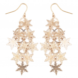 Rose Goldtone Christmas Snowflake Waterfall Chandelier Earrings