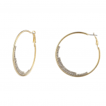 Goldtone Crystal Rhinestone Half Moon Medium Hoop Earrings