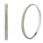 Silvertone Bling Double Row Sticker Stone Large Hoop Earrings