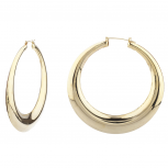 Goldtone Polished Round Puffed Hoop Earrings Fashion Earrings