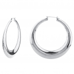 Silvertone Polished Round Puffed Hoop Earrings Fashion Earrings