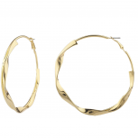 Trendy Goldtone Polished Twisted Metal Geo Hoop Earrings