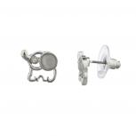 Silvertone White Opal Stone Mini Elephant Novelty Stud Earrings
