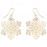 Christmas Holiday Winter Gold Tone Snowflake Drop Earrings