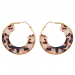 Gold Tone Brown Tortoise Hoop Half circle Earrings for Women