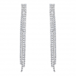 SilverTone Faux Rhinestone Thriple Row Fringe Statement Earrings
