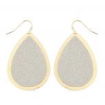 Goldtone Sticker Glitter Teardrop Disk Dangle Earrings