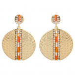 Gold Tone Orange Beaded Hammered Circle Statement Earrings