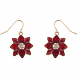 Red Holiday Festive Christmas Poinsettias Flower Dangle Earrings