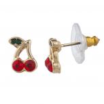 Gold Tone Red Green Rhinestone Cherry Fruit Stud Post Earrings