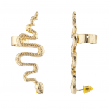 Gold Tone Snake Serpent Post Stud Ear Climber Ear Cuff Earring