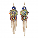 Gold Tone Bright Colorful Woven Festival Fringe Chandelier Earrings