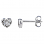 Silver Tone Mini Faux Pave Rhinestone heart Stud Earrings