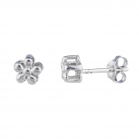 Silver Tone Mini Flower Floral Novelty Stud Earrings for Girls