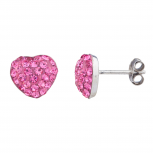 Silver Tone Pink Faux Pave Rhinestone Novelty Stud Earrings