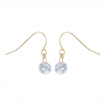 Gold Tone Solitaire Faux Rhinestone Dangle Fish Hook Earrings