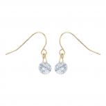 Gold Tone Solitaire Faux Rhinestone Dangle Fish Hook Earrings