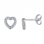 Silver Tone Faux Rhinestone Cutout Pave Heart Stud Earrings