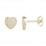 Gold Tone Faux Rhinestone Pave Heart Stud Earrings Pair