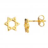 Gold Tone Star Of David Jewish Mini Cutout Star Stud Earrings