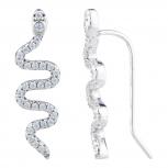 Silver Tone Faux Pave Rhinestone Snake Ear Creeper Ear Cuff