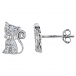 Silver Tone Pave Rhinestone Cat Kitten Novelty Stud Earrings